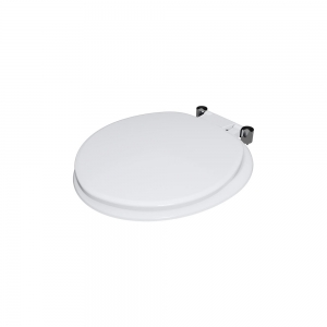 Hinged thermoset toilet seats for solid surface WC pans